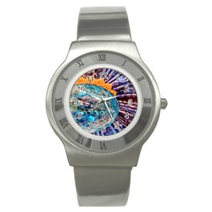 Multi Colored Glass Sphere Glass Stainless Steel Watch by Samandel