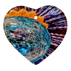 Multi Colored Glass Sphere Glass Heart Ornament (two Sides) by Samandel