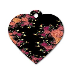 Fractal Fantasy Art Design Swirl Dog Tag Heart (one Side)