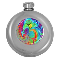Fractal Art Psychedelic Fantasy Round Hip Flask (5 Oz) by Samandel