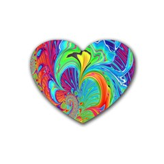 Fractal Art Psychedelic Fantasy Heart Coaster (4 Pack)  by Samandel