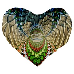 Abstract Fractal Magical Large 19  Premium Flano Heart Shape Cushions