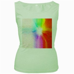 Psychedelic Background Wallpaper Women s Green Tank Top