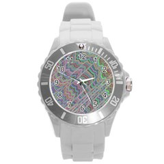 Psychedelic Background Round Plastic Sport Watch (l)