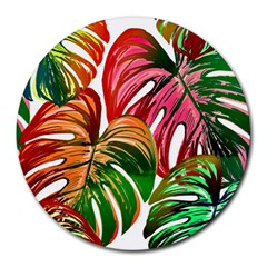 Pretty Leaves D Round Mousepads by MoreColorsinLife