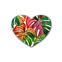 Pretty Leaves D Heart Coaster (4 Pack)  by MoreColorsinLife
