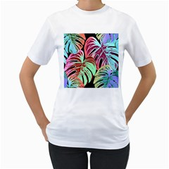 Pretty Leaves A Women s T Shirt (white) (two Sided) by MoreColorsinLife