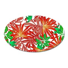 Pretty Leaves 4b Oval Magnet by MoreColorsinLife