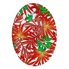 Pretty Leaves 4b Oval Ornament (two Sides)