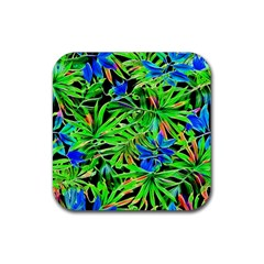 Pretty Leaves 4c Rubber Coaster (square)  by MoreColorsinLife