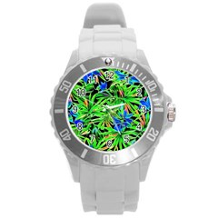 Pretty Leaves 4c Round Plastic Sport Watch (l) by MoreColorsinLife