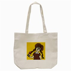 Girl With Popsicle Yellow Background Tote Bag (cream) by snowwhitegirl