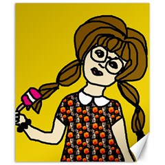 Girl With Popsicle Yellow Background Canvas 20  X 24  by snowwhitegirl