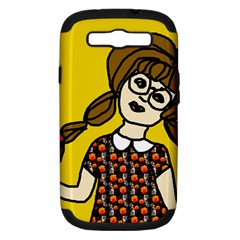 Girl With Popsicle Yellow Background Samsung Galaxy S Iii Hardshell Case (pc+silicone) by snowwhitegirl