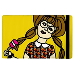 Girl With Popsicle Yellow Background Apple Ipad Pro 12 9   Flip Case by snowwhitegirl