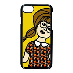 Girl With Popsicle Yellow Background Apple Iphone 8 Seamless Case (black) by snowwhitegirl