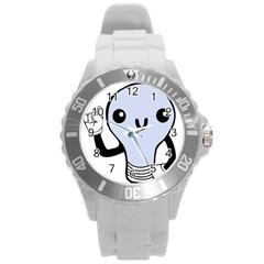 Blue  Kawaii Bulb Round Plastic Sport Watch (l) by snowwhitegirl