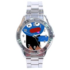 Blue Glitter Zombie Stainless Steel Analogue Watch by snowwhitegirl
