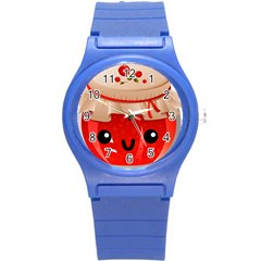 Kawaii Jam Jar Round Plastic Sport Watch (s) by snowwhitegirl