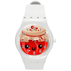 Kawaii Jam Jar Round Plastic Sport Watch (m) by snowwhitegirl