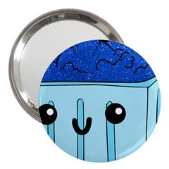 Blue Glitter Ice Cream Carton 3  Handbag Mirrors