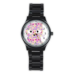 Pink Heart Pattern Cat Stainless Steel Round Watch by snowwhitegirl