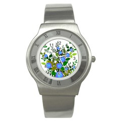 Blue Luminesent Roses Stainless Steel Watch by snowwhitegirl