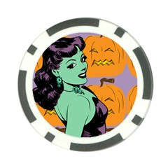 Zombie Retro Girl Poker Chip Card Guard