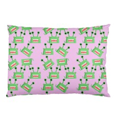 Green Alien Monster Pattern Pink Pillow Case by snowwhitegirl