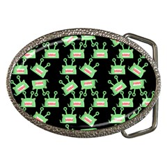 Green Alien Monster Pattern Black Belt Buckles by snowwhitegirl