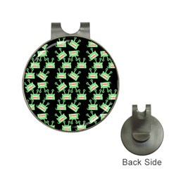 Green Alien Monster Pattern Black Hat Clips With Golf Markers by snowwhitegirl