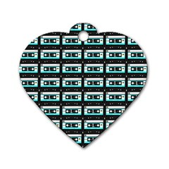 Aqua Cassette Dog Tag Heart (one Side) by snowwhitegirl