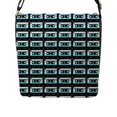 Aqua Cassette Flap Closure Messenger Bag (l)