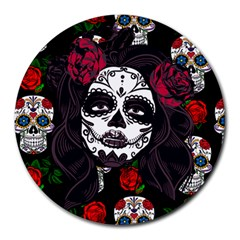 Mexican Skull Lady Round Mousepads by snowwhitegirl