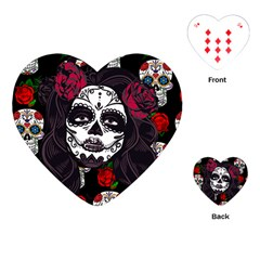 Mexican Skull Lady Playing Cards (heart)