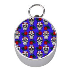 Skull Pattern Blue Mini Silver Compasses