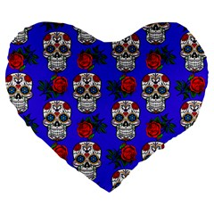 Skull Pattern Blue Large 19  Premium Flano Heart Shape Cushions by snowwhitegirl