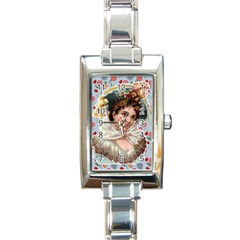Victorian Lady Blue Floral Rectangle Italian Charm Watch by snowwhitegirl