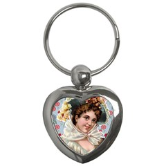 Victorian Lady Blue Floral Key Chains (heart)  by snowwhitegirl