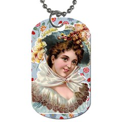 Victorian Lady Blue Floral Dog Tag (two Sides) by snowwhitegirl
