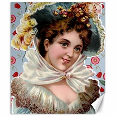 Victorian Lady Blue Floral Canvas 20  X 24