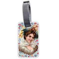 Victorian Lady Blue Floral Luggage Tags (one Side)  by snowwhitegirl