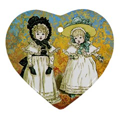 Little Victorian Girls Heart Ornament (two Sides) by snowwhitegirl