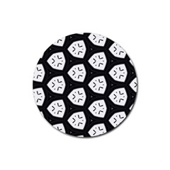 Black And White Rubber Round Coaster (4 Pack)