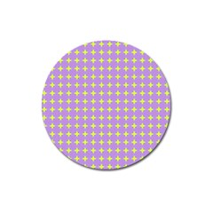 Pastel Mod Purple Yellow Circles Magnet 3  (round) by BrightVibesDesign