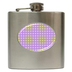 Pastel Mod Purple Yellow Circles Hip Flask (6 Oz) by BrightVibesDesign
