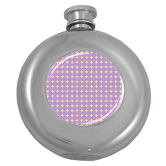 Pastel Mod Purple Yellow Circles Round Hip Flask (5 Oz) by BrightVibesDesign
