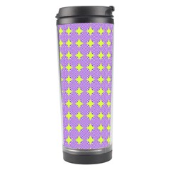 Pastel Mod Purple Yellow Circles Travel Tumbler by BrightVibesDesign