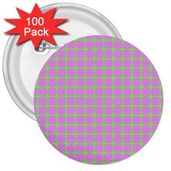 Pastel Mod Pink Green Circles 3  Buttons (100 Pack)  by BrightVibesDesign