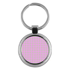 Pastel Mod Pink Green Circles Key Chains (round)  by BrightVibesDesign